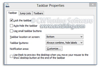 Prevent change taskbar settings - WinTuning Utilities: Optimize, boost, maintain and recovery Windows 7, 10, 8 - All-in-One Utility